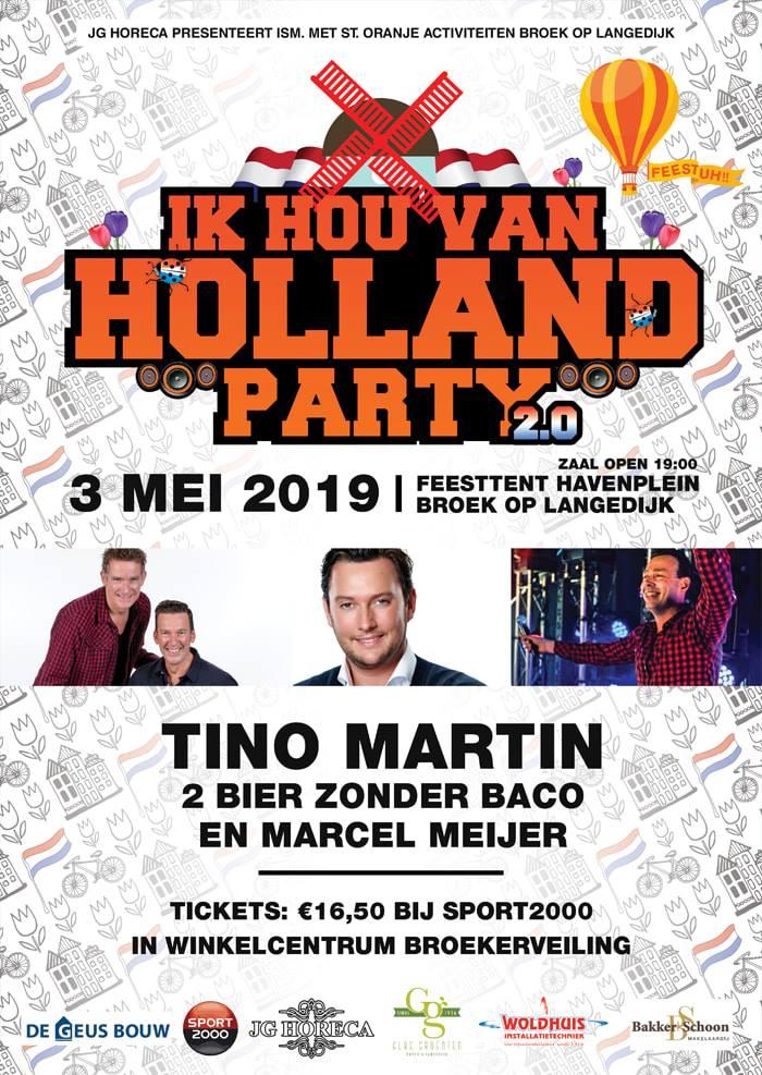 Tino Martin, Marcel Meijer, Holland party, 2 bier zonder baco, broek op Langedijk,